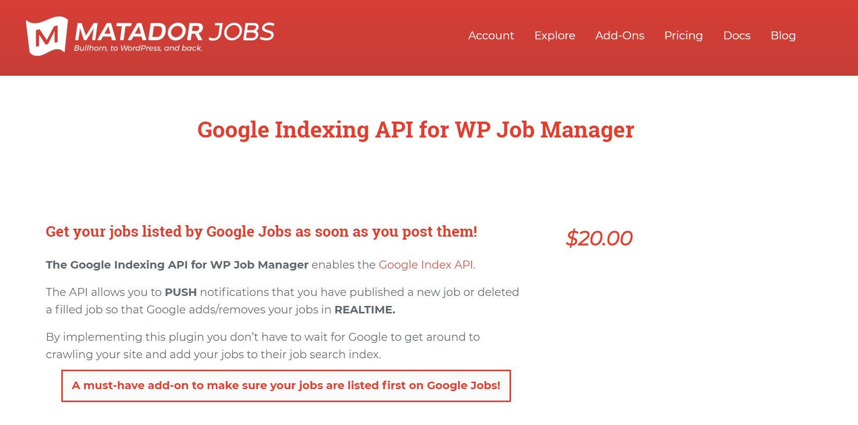 Google Indexing API for WP Job Manager screenshot