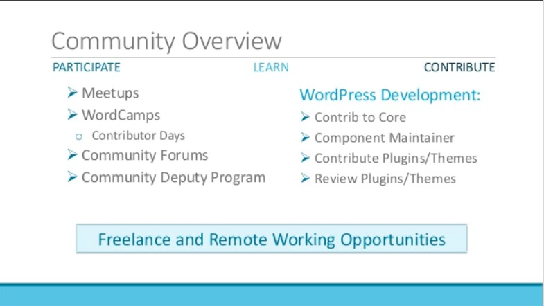 Overview slide from presentation on the WordPress Community